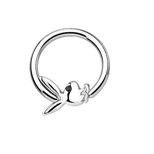 Tapsi´s Coolbodyart®| Ball Closure Ring Edelstahl Chirurgenstahl 316L Silber Kristall Playboy