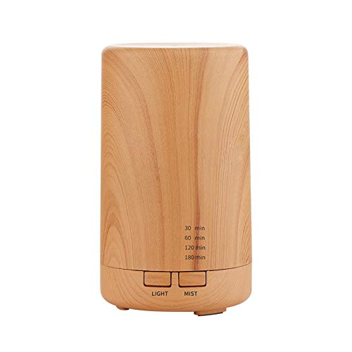 100ml USB Essential Oil Aromatherapy Diffuser Portable Miniwood color Humidifier Air Refresher Auto-Off Safety Switch 7 LED Light Colors for Home Office Car Vehicle Travel (wood color)