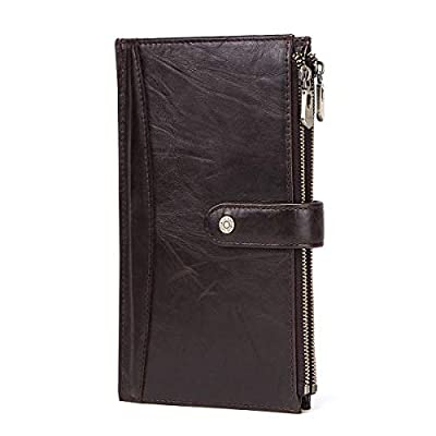 Contacts Genuine Leather Men Zipper Phone Coin Pocket Passport Wallet Travel Card Clutch Purse Coffee