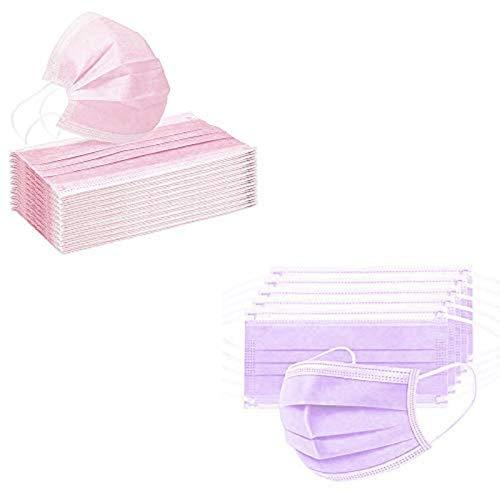 Siwanm 25 Pink + 25 Lila Stück Schutzwerkzeug, Bequem und Atmungsaktiv Drei Schichten Wolle Einweg-Schutzwerkzeug Geeignet zum Lsolieren von Staub / Rauch / Speichel