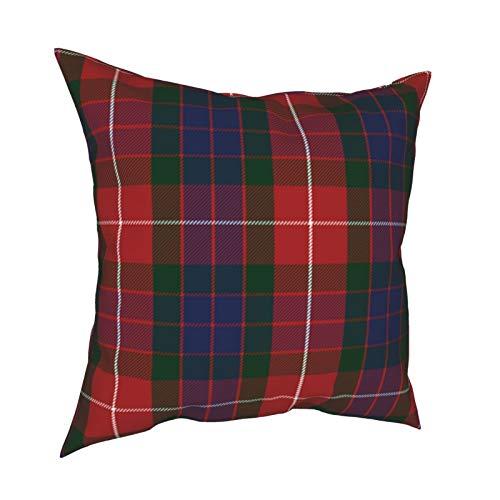 ZVEZVI Fraser Red Tartan Throw Pillows Covers Accent Home Sofá Cojín Funda de Almohada Regalo Decorativo 18x18 Pulgadas