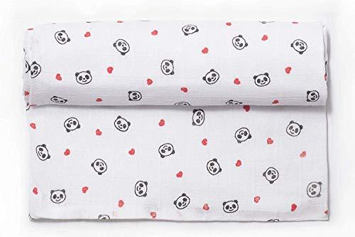 Ti TIN - Muselina para Bebé de Fibra 100% Algodón | Gasa para Bebé Extrasuave y Absorbente con un Estampado de Oso Panda Color Rojo, 120x120 cm