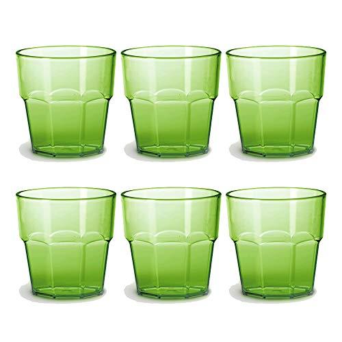 Omada Design Set di 6 Bicchieri in Plastica, 30 cl, Ideali per Bibite o Long Drink, Lavabili in Lavastoviglie, Made in Italy, Impilabili, Linea Unglassy, Colore Verde