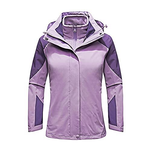 Damaifirstes Jaqueta externa forro de lã de inverno três em um à prova d'água terno de duas peças masculino terno de alpinismo capa de chuva feminino-roxo feminino_3XL
