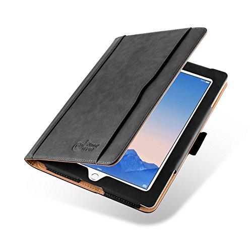 JAMMYLIZARD Hülle für iPad 4 | Ledertasche Flip Hülle [Business Tasche] Leder Smart Cover Lederhülle für iPad 4. 3. und 2. Generation, Schwarz und Honig [mit Eingabestift und Pencil Halter]