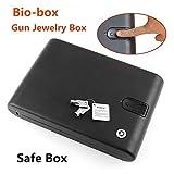 Biometric Fingerprint Safe Box Key Gun Vault Jewelry Box Cable Portable Bio-box