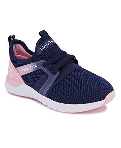 Nautica Kids Girls-Boys Sneaker Comfortable Running Shoes-Parks Youth-Navy Peony-1