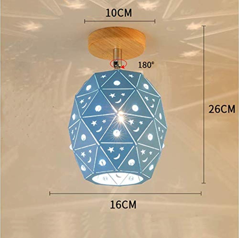 Nordic Moderne blaue LED Deckenleuchte drehbar aus Holz Deckenlampe Restaurant Flur
