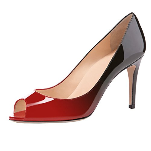 elashe Damen Peeptoe Pumps | 8cm Stiletto High Heel | Bequeme Lack Stilettos Rot-Schwarz EU43