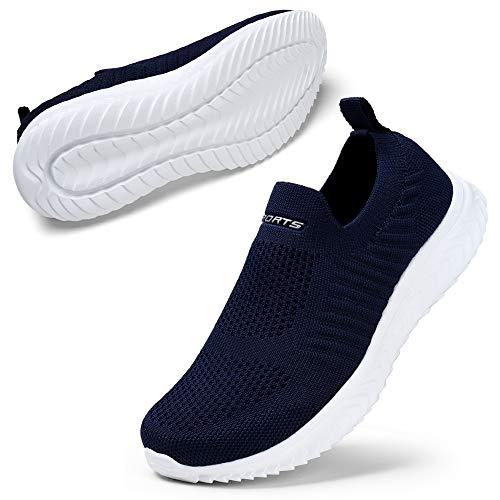 STQ Damen Bequen Schuhe Mesh Slip on Wanderschuhe Trendige Freizeit Leichte Turnschuhe Athletic Jogging Sneakers Dunkelblau 39 EU