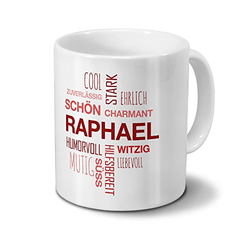 printplanet Tasse mit Namen Raphael Positive Eigenschaften Tagcloud - Rot - Namenstasse, Kaffeebecher, Mug, Becher, Kaffeetasse