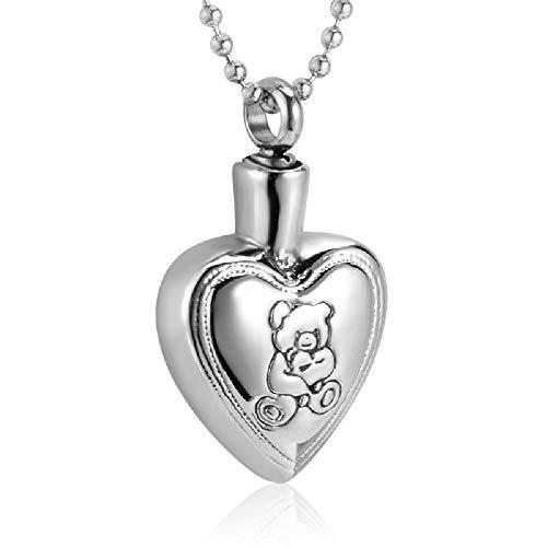 MKLI La cremación de joyería de Acero de Titanio de Acero Inoxidable Ash Box Amor Adolescente Colgante, Collar del Animal doméstico Ash Box,Silver