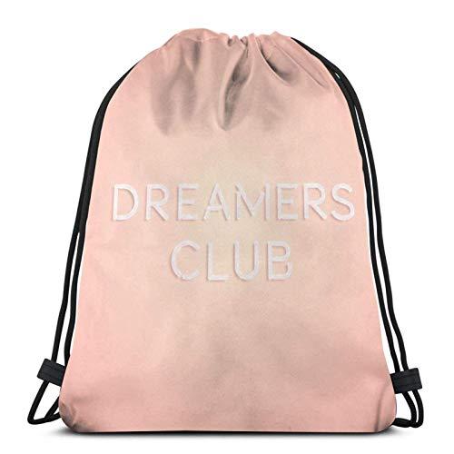 Lsjuee Dreamers Club Bolsa con cordón Sport Gym Mochila Sackpack String Bag Cinch Bolsa de playa impermeable para gimnasio Compras Deporte Yoga
