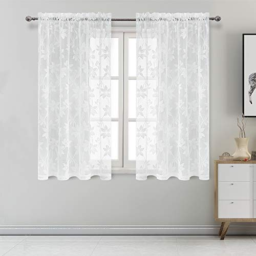 DWCN Floral Lace Sheer Curtains - Rod Pocket Window Voile Sheer Drapes for Bedroom Kitchen Short Curtains 42 x 54 inch Length, Set of 2 White Curtain Panels