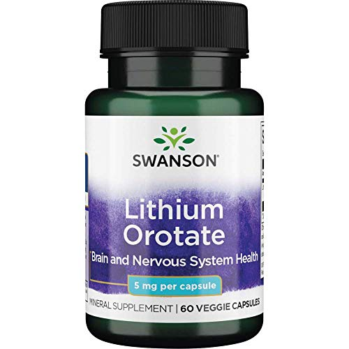 Swanson Lithium Orotate Antioxidant Mood Emotional Wellness Behavior Memory Support Supplement 5 mg 60 Veggie Capsules (Elemental Lithium)