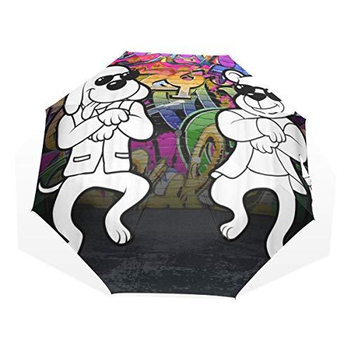 LASINSU Mini Ombrello Portatile Pieghevoli Ombrello Tascabile,Divertente Hip Hop Freestyle Hipster Cane e orso Danza Equitazione Front Of Graffiti Wall,Antivento Leggero Ombrello per Donna