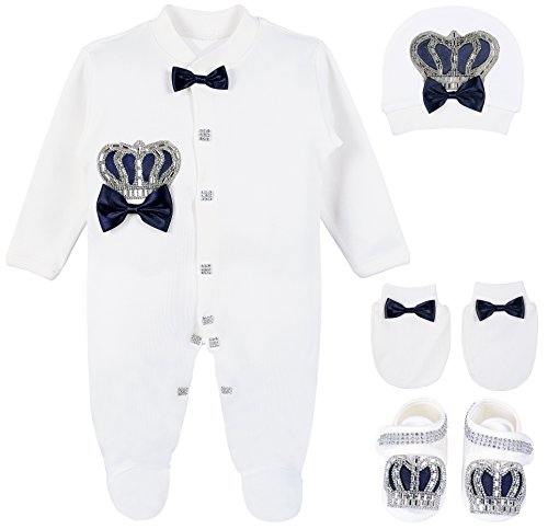 Lilax Baby Boy Jewels Crown Layette 4 Piece Gift Set 0-3 Months