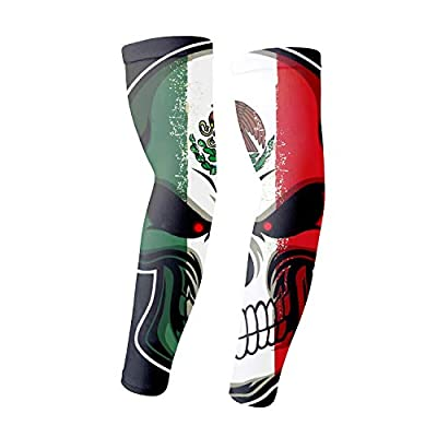 UV Protection Cooling Arm Sleeves Mexico Flag Skull Sunblock Cooler Sports Gloves 1 Pair Long Arm Cover