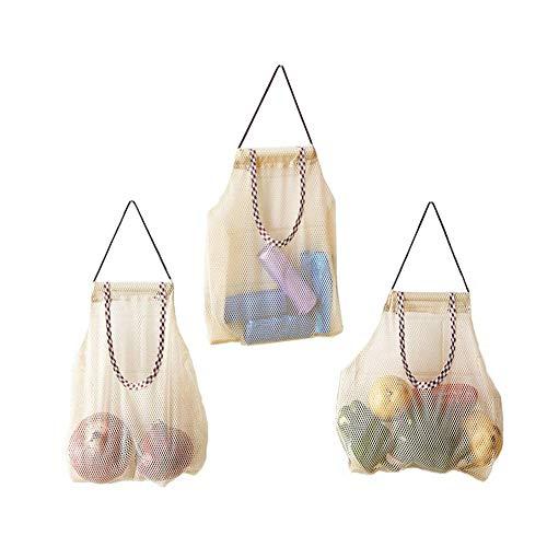 fansheng 3 bolsas de almacenamiento de malla para colgar frutas para patatas, cebollas vegetales reutilizables de malla bolsa de almacenamiento bolsas