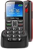 Telefono Movils para Mayores, gsm Pantalla de 2,3 Pulgadas con Teclas Extra Grandes Telefono Inalambrico con Botón SOS Batería de 1000mAh y Base de Carga Fácil de Usar Senior Teléfonos - Negro