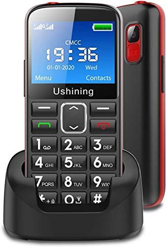 Telefono Cellulare per Anziani,Ukuu GSM Telefono per Anziani con 2,31  Display Tasti Grandi Funzione SOS 1000mAh Batteria Lungo Standby con Base di Ricarica, Supporto HAC SIM Doppio - Nero