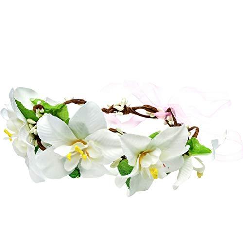 Diadema de flores de lirio de moda para novia, corona floral, tocado...