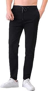 Plaid&Plain Men's Elastic Waist Pants Men's Slim Fit Chinos Drawstring Trousers