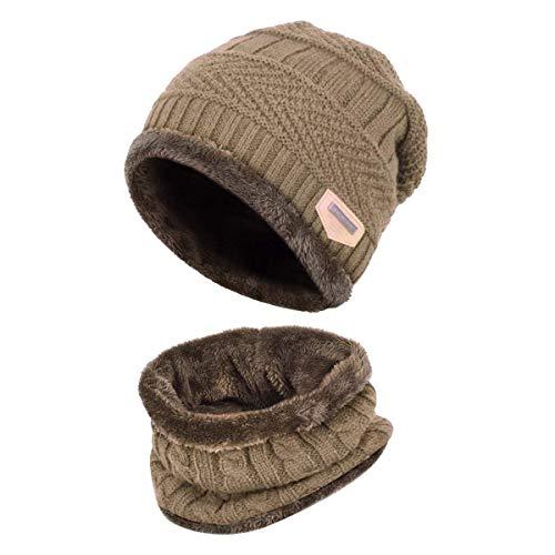 HIDARLING Bambini Cappello e Sciarpa di Inverno Berretta in Maglia e Scaldacollo Set con Fodera in Pile (caffè Leggero)