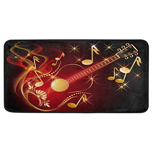 Funnyy Japanische Gitarre Musiknoten Küche Bodenmatte glänzend Musik Komfort rutschfest Küche Teppich Fußmatte Innen Eingang Flur Polyester Maschinenwaschbar Läufer Teppich Home Decor 99,1 x 50,8 cm