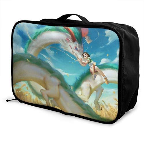 Anime Spirited Away Bolsa de equipaje portátil de gran capacidad, impermeable, ligera, de viaje, hecha de poliéster, con patrones de impresión elegantes y exquisitos