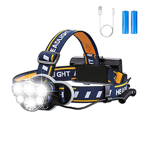 Rechargeable Headlamp, OUTERDO 6 LED 8 Modes USB Rechargeable HeadLight with 2 Batteries, Waterproof LED Head Torch Rechargeable Headlamp Flashlight for Camping, Fishing, Cellar, Outdoors