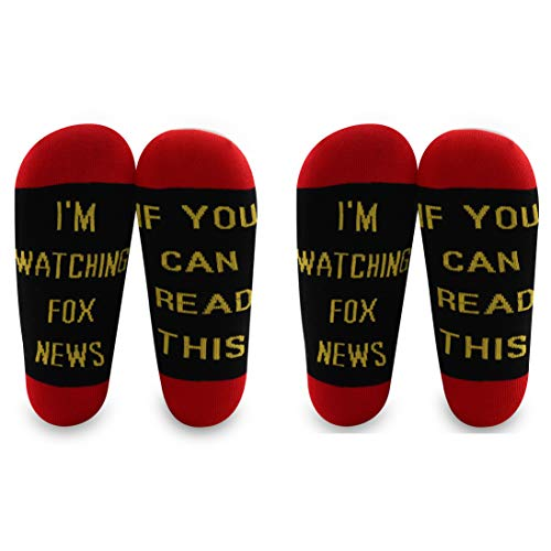LEVLO Fox News Gift If You Can Read This I'm Watching Fox News Cotton Socks Fox News Fans Gift (2 Pairs/Set-3)