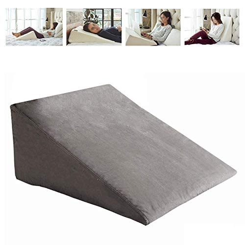 HYDDG Comfort Bed Wedge Pillow,Memory Foam Incline Cushion for Back and Legs,Shaped for Reading,Support,Washable,White