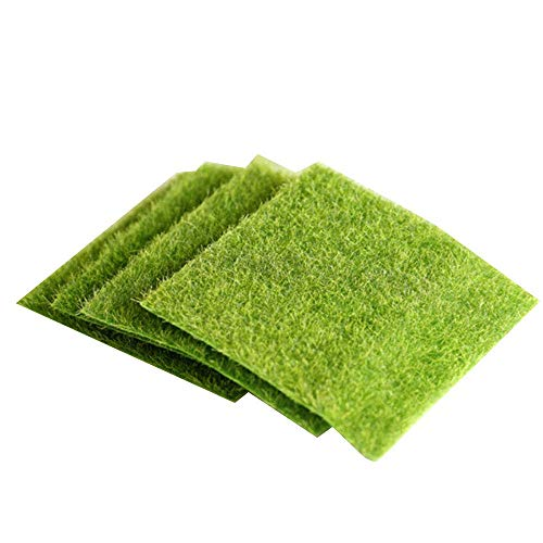 Lot de 4 tapis de gazon artificiel 15 x 15 cm pour décoration miniature
