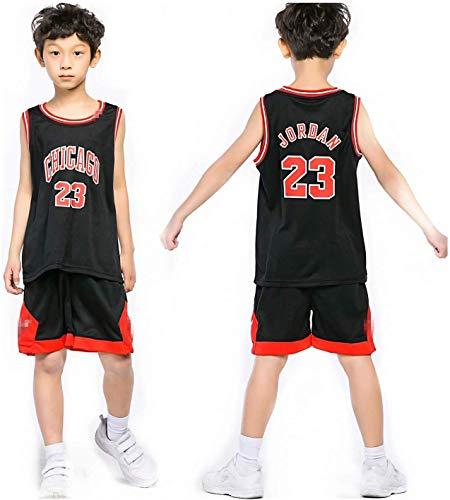 Kinder Herren NBA Basketball Trikots Set - Bulls Jordan 23, Lakers 23 James/24 Bryant, Warriors 30 Curry/35 Durant Basketball Jersey Uniform: Mesh Weste Shirt + Sommershorts