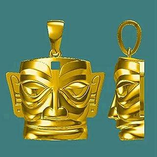 ネックレス 三星堆遺跡 黄金仮面 指輪 ネックレス メンズ 中国の歴史 神話から歴史へ 神話時代 三星堆・中国古代文明の謎 盛世繁栄 お祝い プレゼント 誕生日 装飾 特別日 パーティー クリスマス 式典 (B)