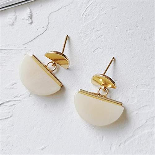 DFDLNL Ear Pins Pendientes de Temperamento Vintage Pendientes de semicírculo Pendientes geométricos de Resina contratados Joker para MujerBlanco