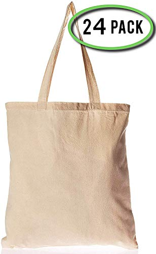 24 Pack Bulk Cotton Canvas Tote Bags Reusable Grocery Shopping Blank Tote Bags in Bulk Blank Art Craft Supply Book Print Bulk Lot School Church Party Blank goods Bags Wholesale Tote Bags (Natural)