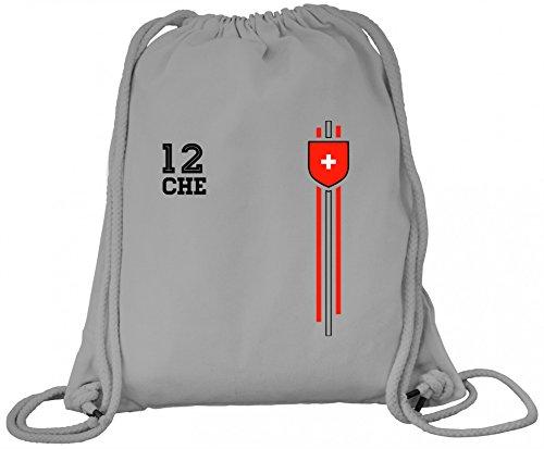 Swiss Soccer World Cup Fussball WM Fanfest Gruppen Premium Bio Baumwoll Turnbeutel Rucksack Stanley Stella Streifen Trikot Schweiz, Größe: onesize,Heather Grey