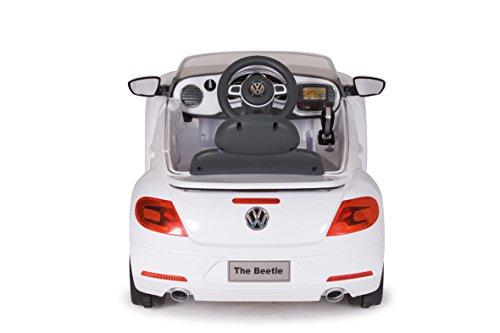 RC Auto kaufen Kinderauto Bild 2: Jamara 460220 - Ride-on VW Beetle weiß 27MHz 6V - Leistungsstarker Antriebsmotor und Akku, Ultra-Gripp Gummiring am Antriebsrad, LED-Scheinwerfer, Fahrertür lässt sich öffnen, Hupe und Sound*