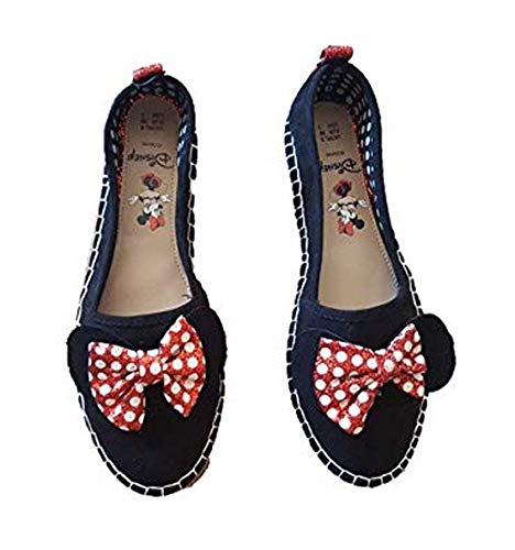 Disney Minnie Mouse Ballet Shoes Black with Red Bow Flat Women Shoes (UK-6...