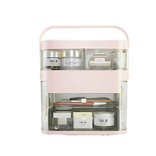 Caja de Almacenamiento de cosmética Multifuncional, Caja de cosmética extraíble portátil, Caja de Almacenamiento de Joyas de Flip-Top, 11.8x11.6x8.3 Pulgadas,Pink c,11.8x11.6x8.3 in