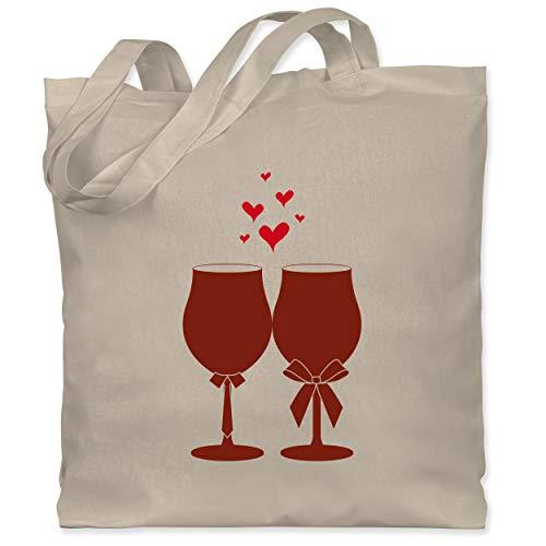 Shirtracer Symbole - Weingläser Wein - Unisize - Naturweiß - Geschenk - WM101 - Stoffbeutel aus Baumwolle Jutebeutel lange Henkel