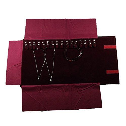 UnionPlus Schmuckschatulle für die Reise, Rolltasche, Ordner für Halskette Armband Ohrringe Ring Large Burgundy (Necklaces Only)