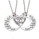 lehao397 I Love You to The Moon and Back Mother Daughter Women Necklaces Pendant Gifts for Mom Daughter