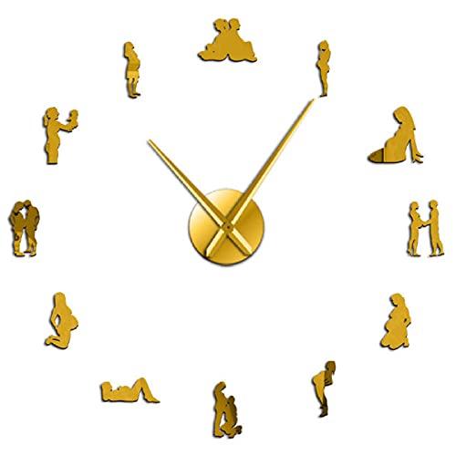 37 Pulgadas Embarazo Pared Arte decoración del hogar DIY Grandes Relojes de Pared Mujeres Embarazadas recién Nacido bebé mamá para ser Reloj de Pared Decorativo-Oro