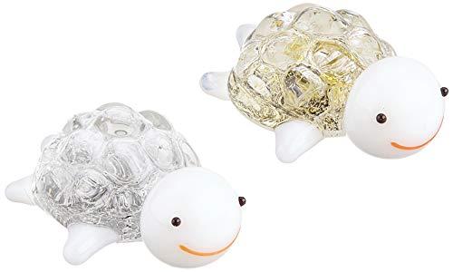 かわいい 手作り ガラス細工 金の亀 銀の亀