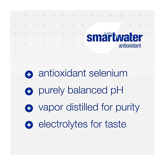Smartwater antioxidant, 33. 8 fl oz bottles, pack of 12 4 purity you can taste. Hydration you can feel. Your newest way to hydrate the smartwater you love with a smart new twist. Vapor distilled water for purity, added electrolytes for taste and now infused with antioxidant selenium. Smartwater antioxidant water is the same crisp, clean water you love, it's vapor distilled, with added electrolytes for taste and infused with antioxidant selenium.