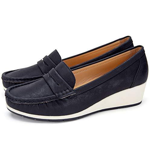 Zapatos Cuña Comodos Náuticos Mujer - Mocasín Cuero de Imitación para Mujer, la Mejor Opción para Caminar y Usar, Zapatos cuña Casuales, Adecuados para Todas Las Estaciones
