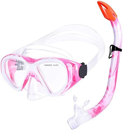 Schnorchelset Kinder Schnorcheln Taucherbrille mit 180° Panorama Sichtfeld Tauchmaske Schnorchelmaske Tauchen Set wasserdichte Schnorchelbrillen für Junge Mädchen (Rosa)